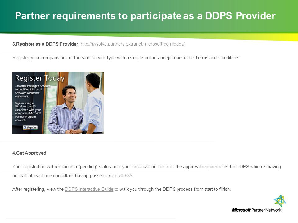 Partner requirements to participate as a DDPS Provider