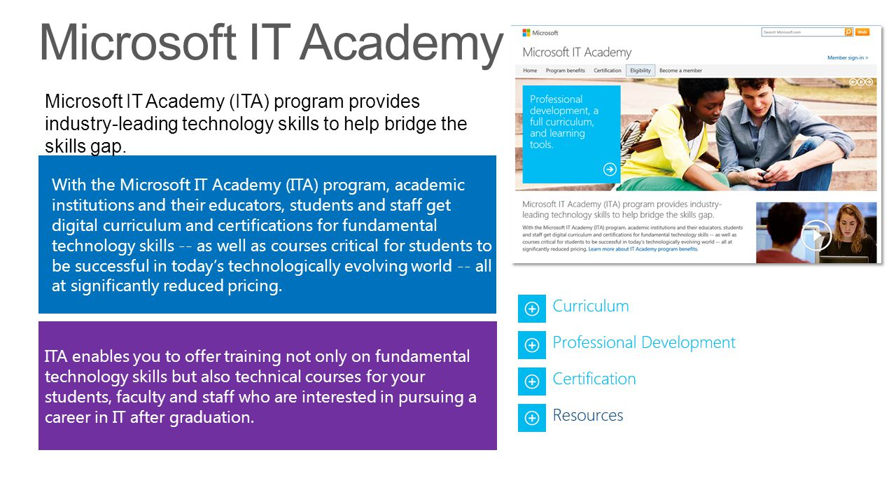 Microsoft IT Academy Microsoft IT Academy (ITA) program provides industry-leading technology skills to help bridge the skills gap.