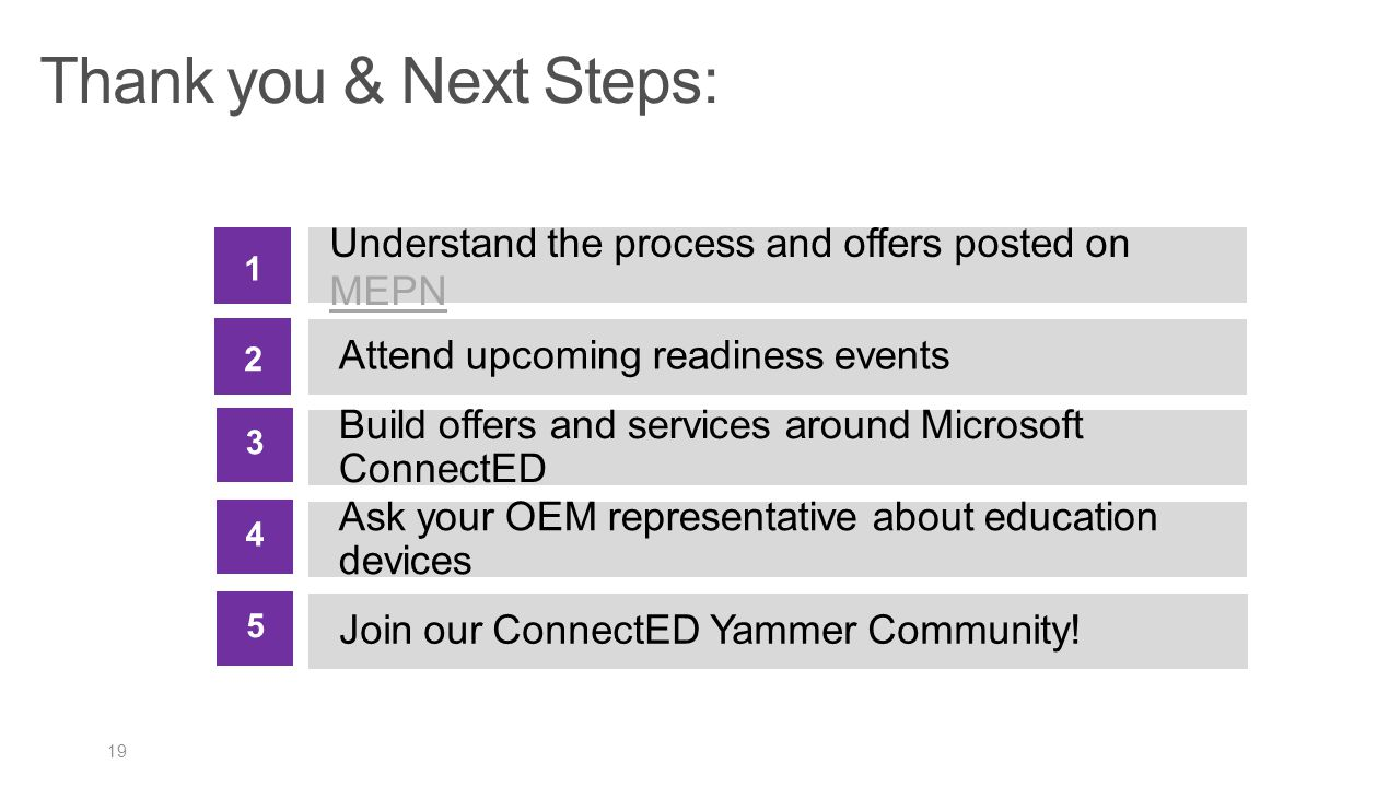 Thank you & Next Steps: 1. Understand the process and offers posted on MEPN. 2. Attend upcoming readiness events.