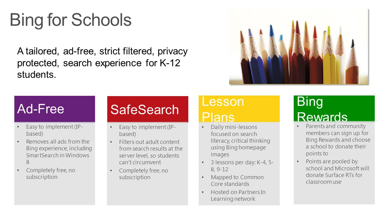 Bing for Schools Ad-Free SafeSearch Lesson Plans Bing Rewards