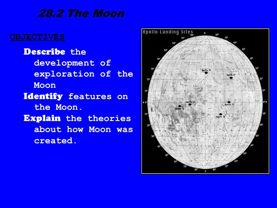 28.2 The Moon OBJECTIVES. Describe the development of exploration of the Moon. Identify features on the Moon.