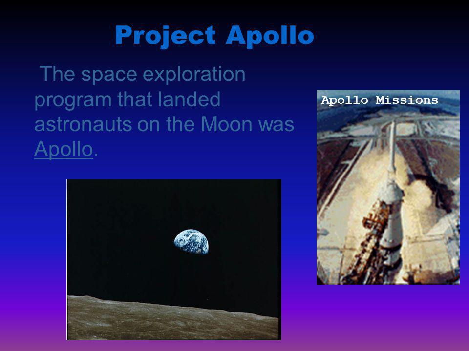 Project Apollo The space exploration program that landed astronauts on the Moon was Apollo.