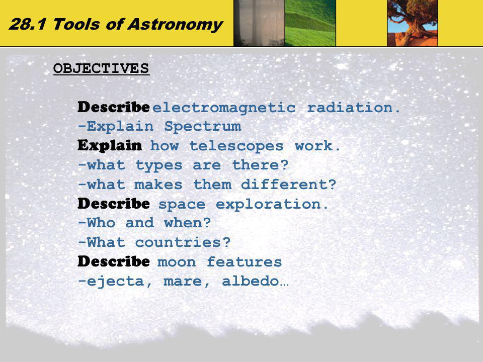 28.1 Tools of Astronomy OBJECTIVES. Describe electromagnetic radiation. -Explain Spectrum. Explain how telescopes work.