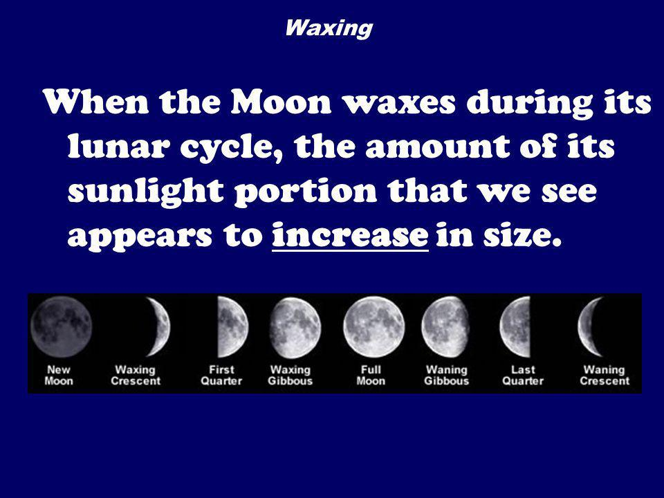 Waxing When the Moon waxes during its lunar cycle, the amount of its sunlight portion that we see appears to increase in size.