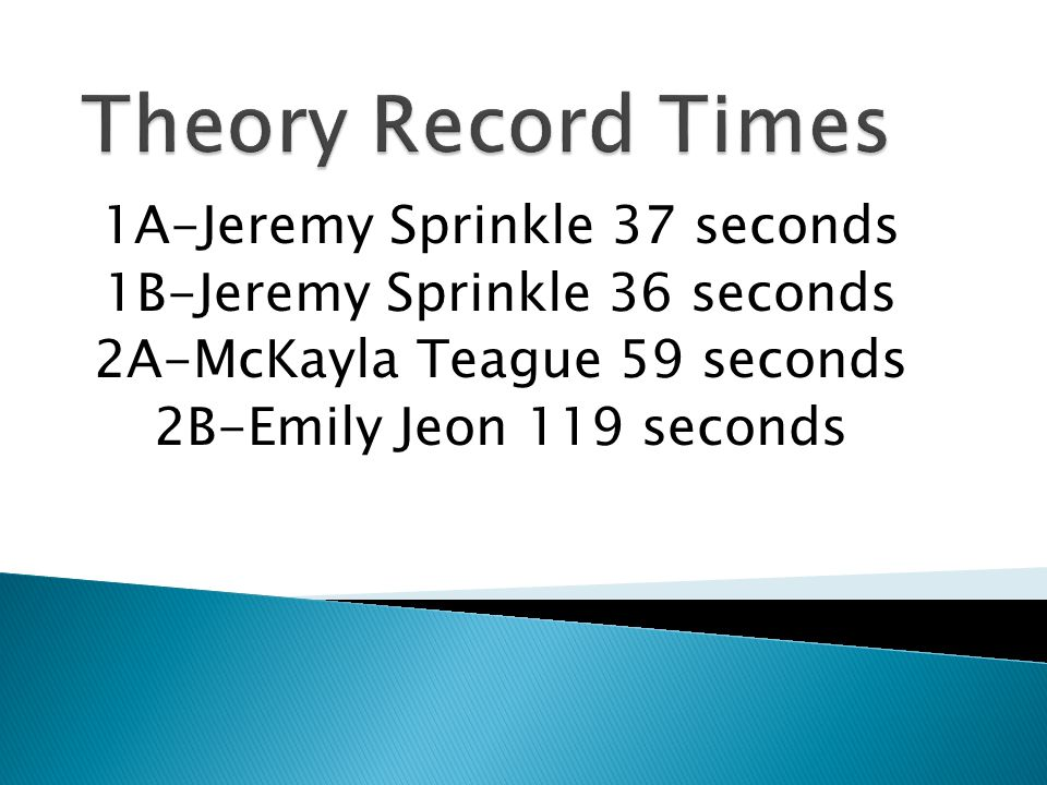Theory Record Times 1A-Jeremy Sprinkle 37 seconds