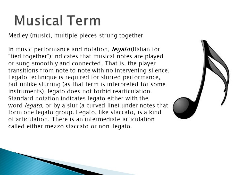 Musical Term Medley (music), multiple pieces strung together