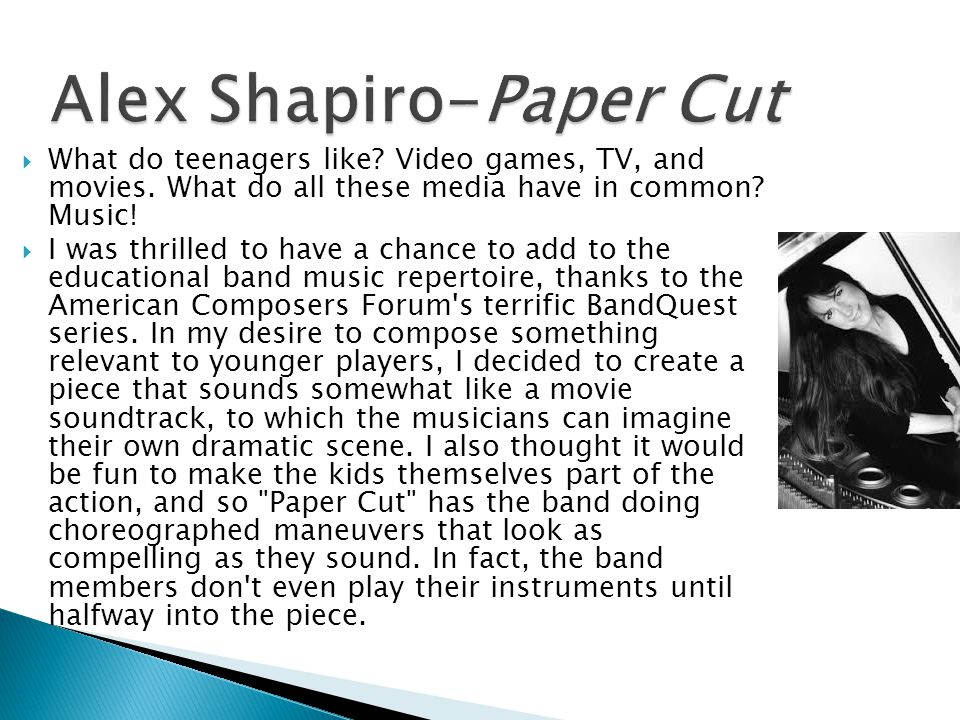 Alex Shapiro-Paper Cut