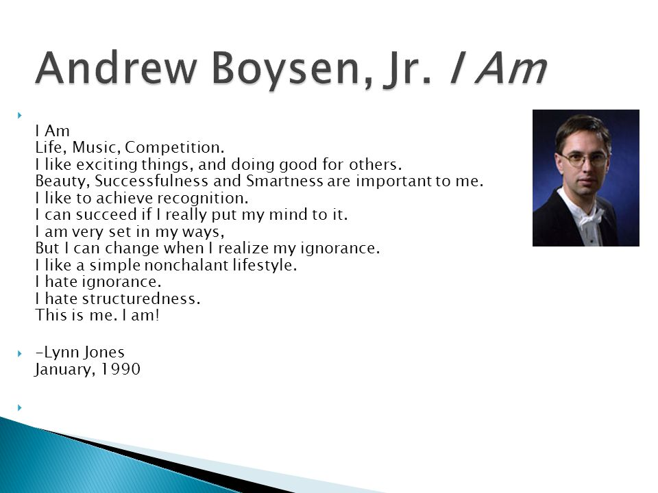 Andrew Boysen, Jr. I Am