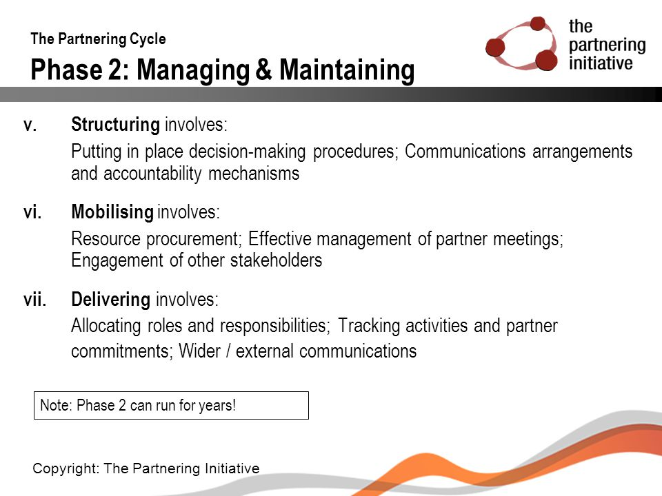 The Partnering Cycle Phase 2: Managing & Maintaining