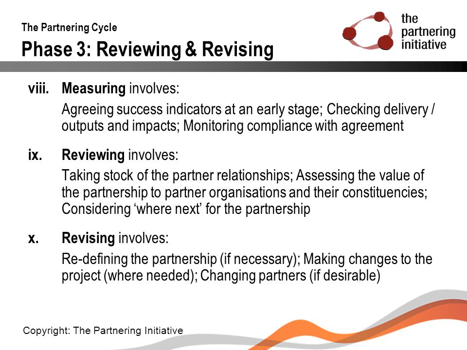 The Partnering Cycle Phase 3: Reviewing & Revising
