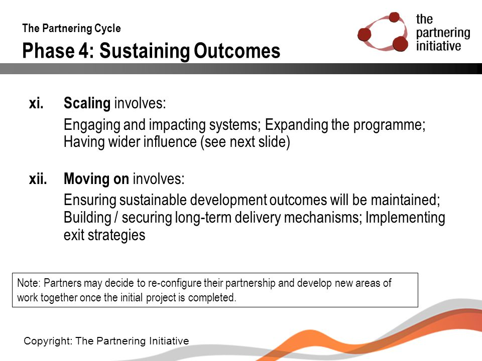 The Partnering Cycle Phase 4: Sustaining Outcomes