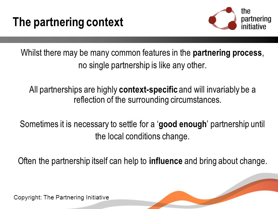 The partnering context