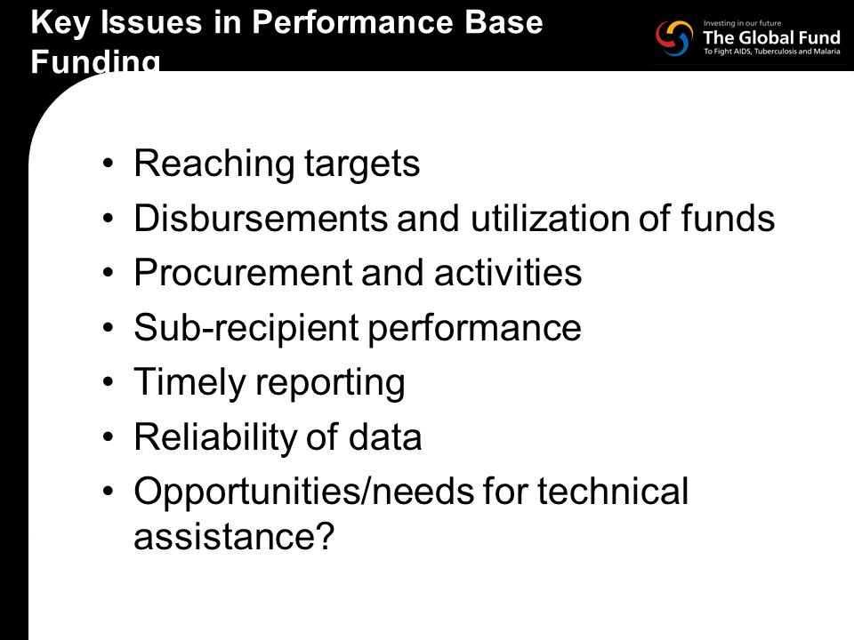 Key Issues in Performance Base Funding