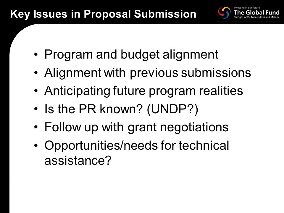 Key Issues in Proposal Submission