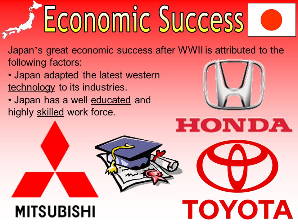 Economic Success Japan's great economic success after WWII is attributed to the following factors: