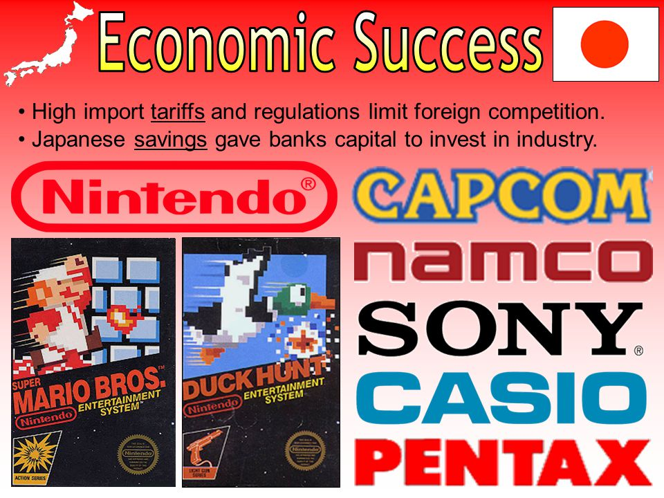Economic Success High import tariffs and regulations limit foreign competition.