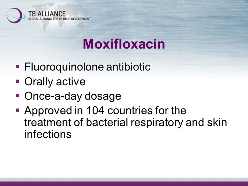 Moxifloxacin Fluoroquinolone antibiotic Orally active