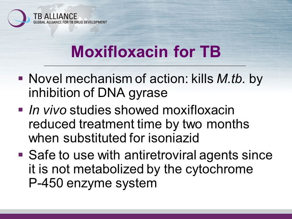 Moxifloxacin for TBNovel mechanism of action: kills M.tb. by inhibition of DNA gyrase.