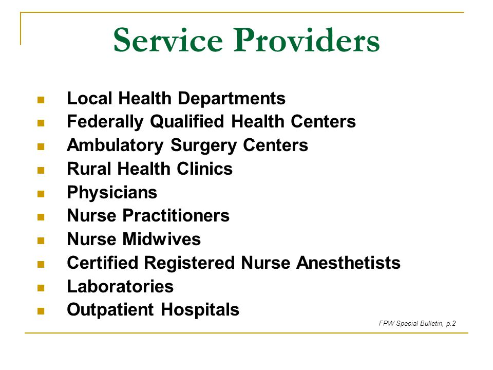 Service Providers Local Health Departments