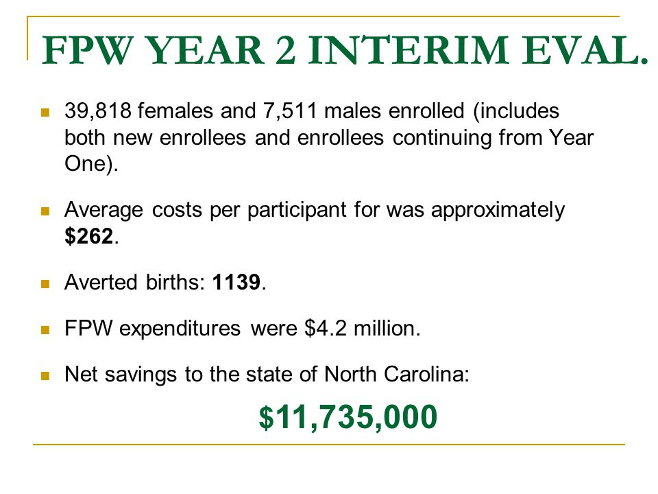 FPW YEAR 2 INTERIM EVAL. 39,818 females and 7,511 males enrolled (includes both new enrollees and enrollees continuing from Year One).