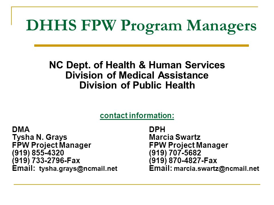 DHHS FPW Program Managers