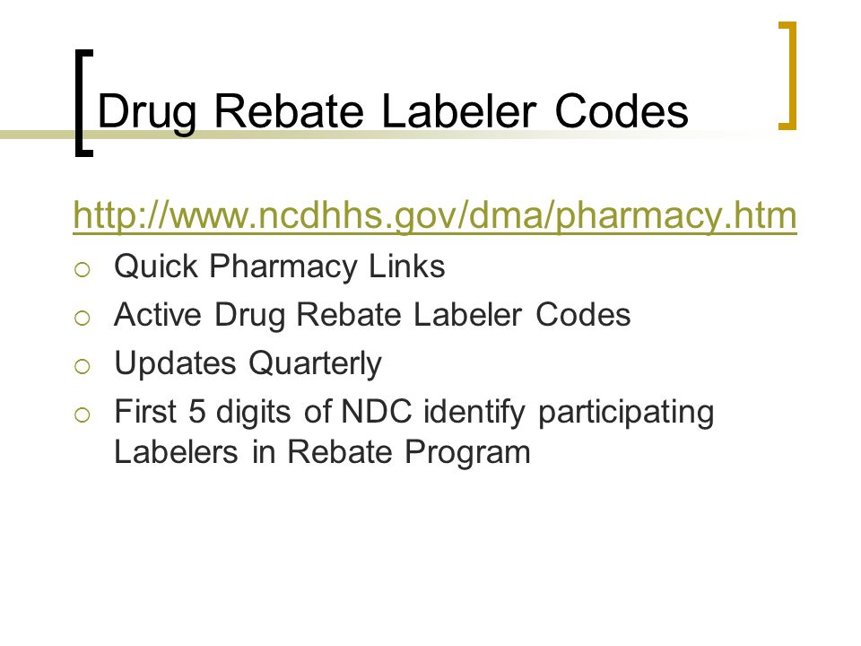 Drug Rebate Labeler Codes