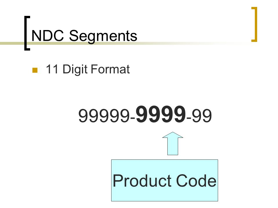 99999-9999-99 Product Code NDC Segments 11 Digit Format