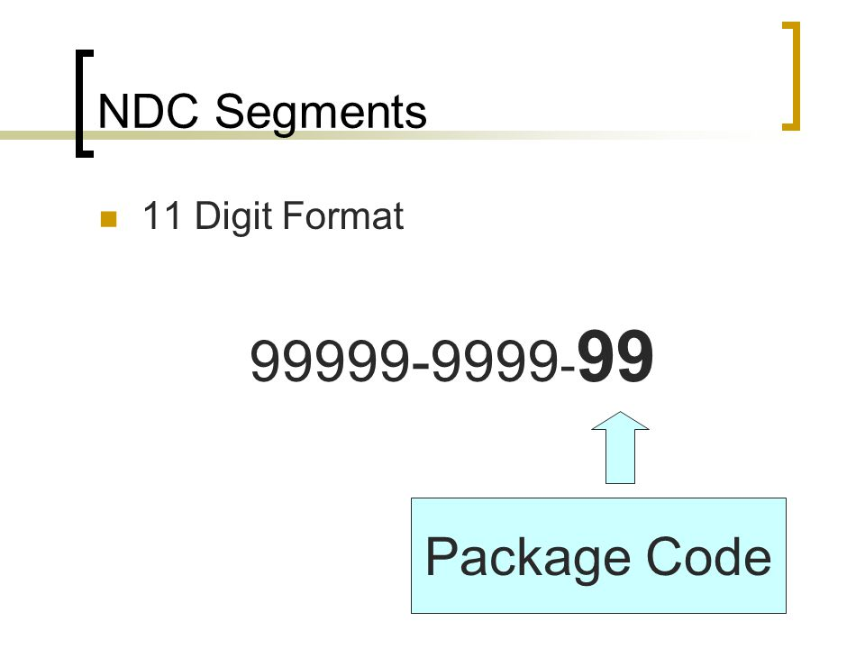 99999-9999-99 Package Code NDC Segments 11 Digit Format