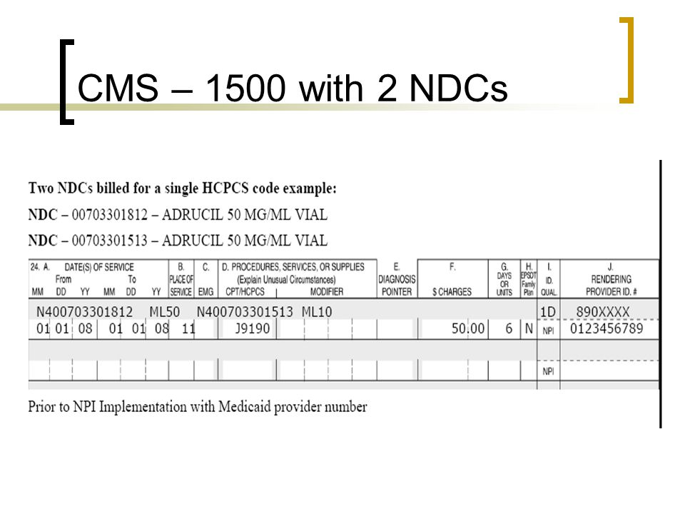 CMS – 1500 with 2 NDCs The actual verbiage from the instruction manual concerning the spaces follows: