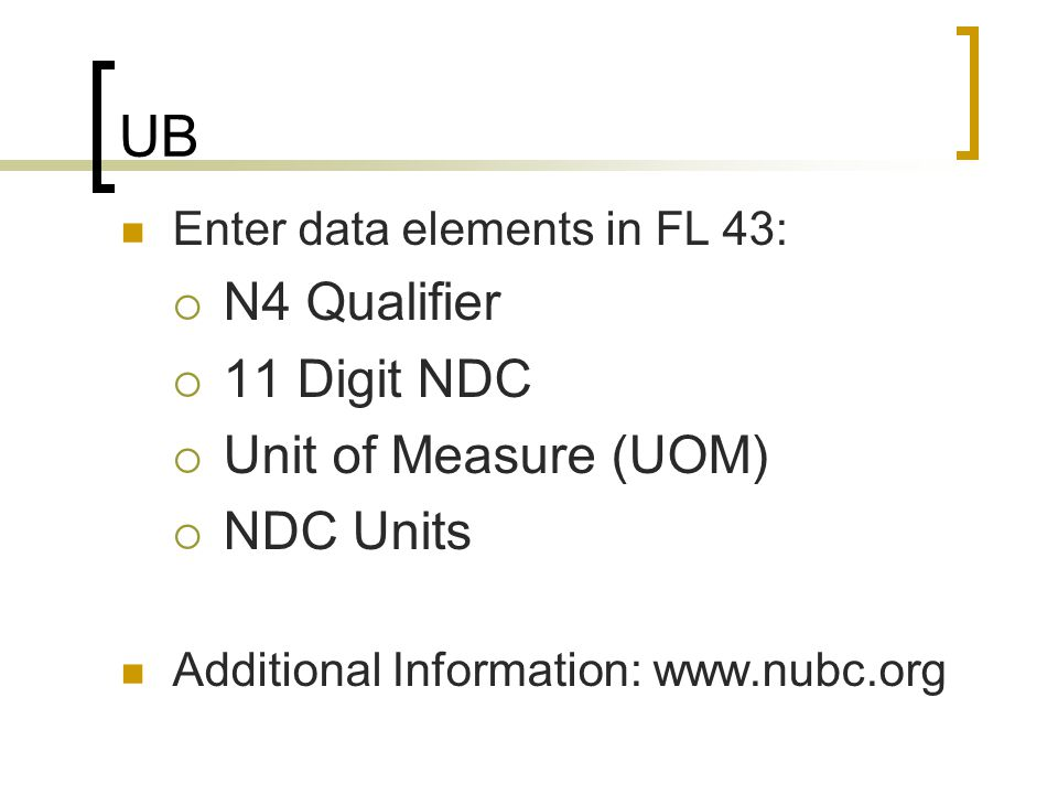 UB N4 Qualifier 11 Digit NDC Unit of Measure (UOM) NDC Units