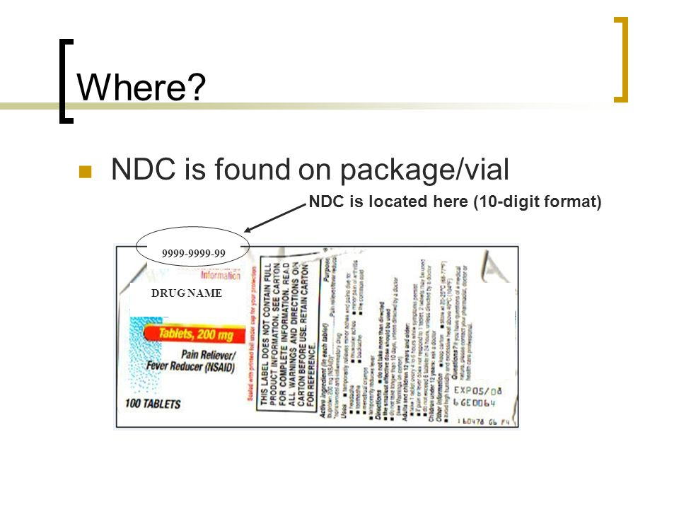 Where NDC is found on package/vial
