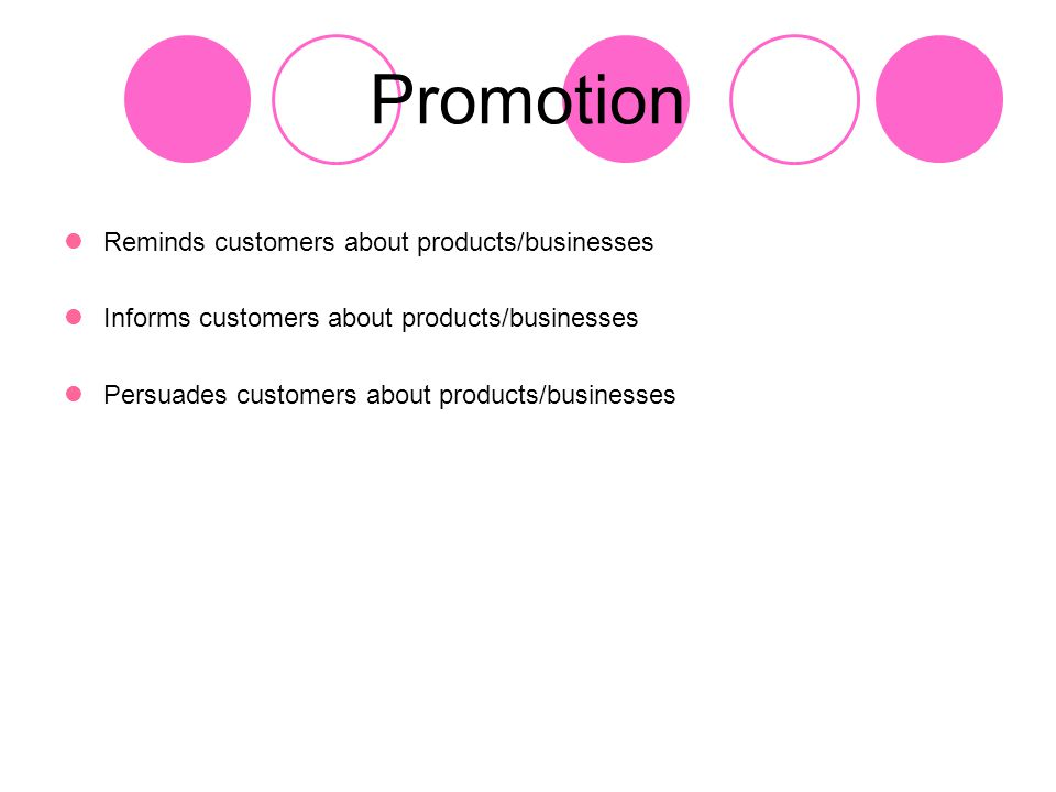 Promotion Reminds customers about products/businesses