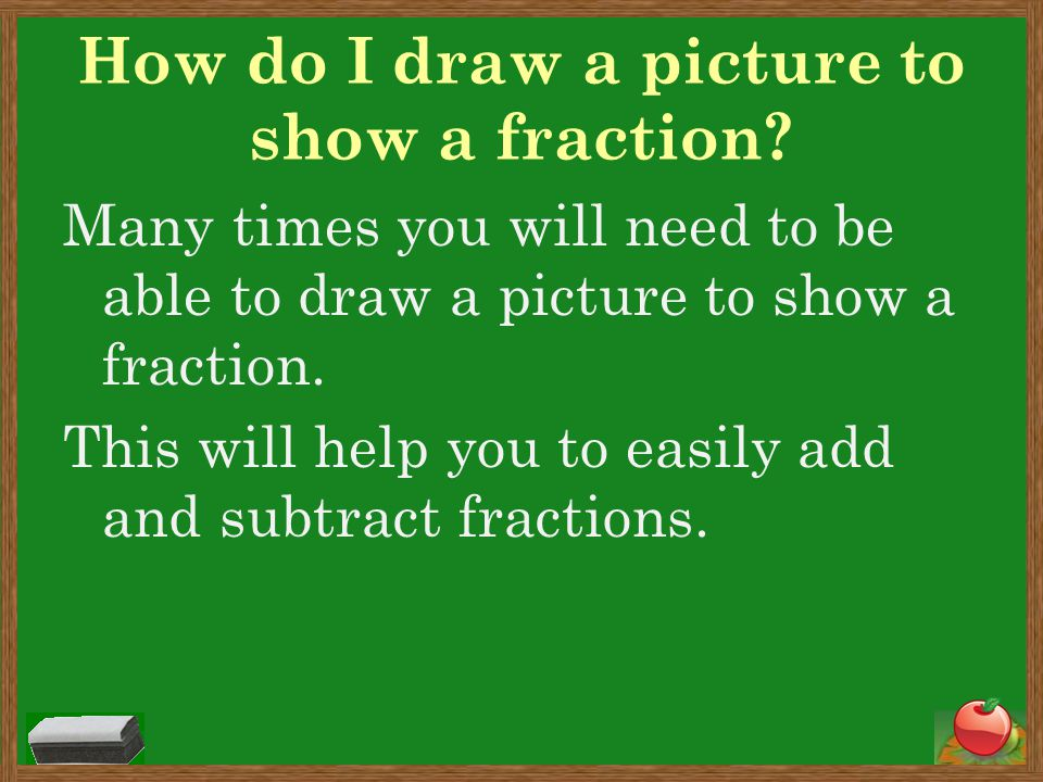 How do I draw a picture to show a fraction