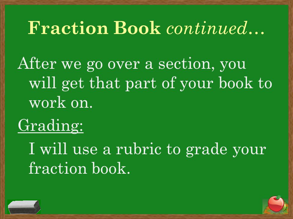 Fraction Book continued…