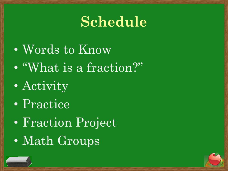 Schedule Words to Know What is a fraction Activity Practice