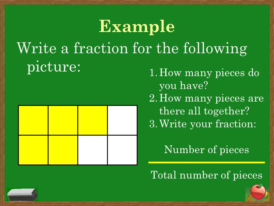 Example Write a fraction for the following picture: