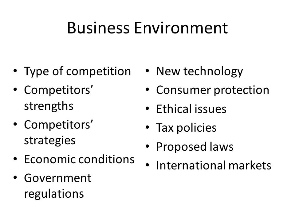 Business Environment Type of competition New technology