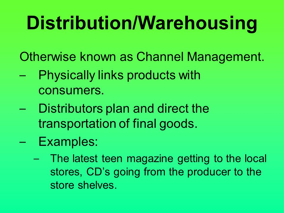 Distribution/Warehousing
