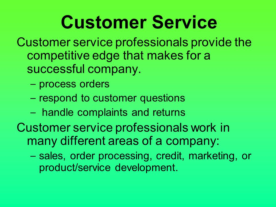 Customer Service Customer service professionals provide the competitive edge that makes for a successful company.