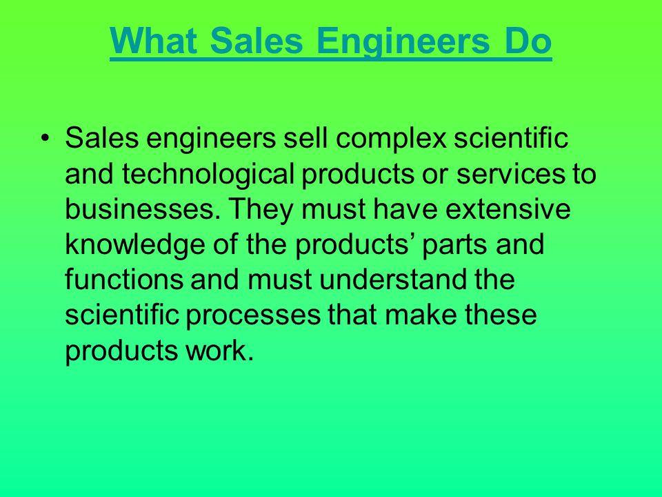 What Sales Engineers Do