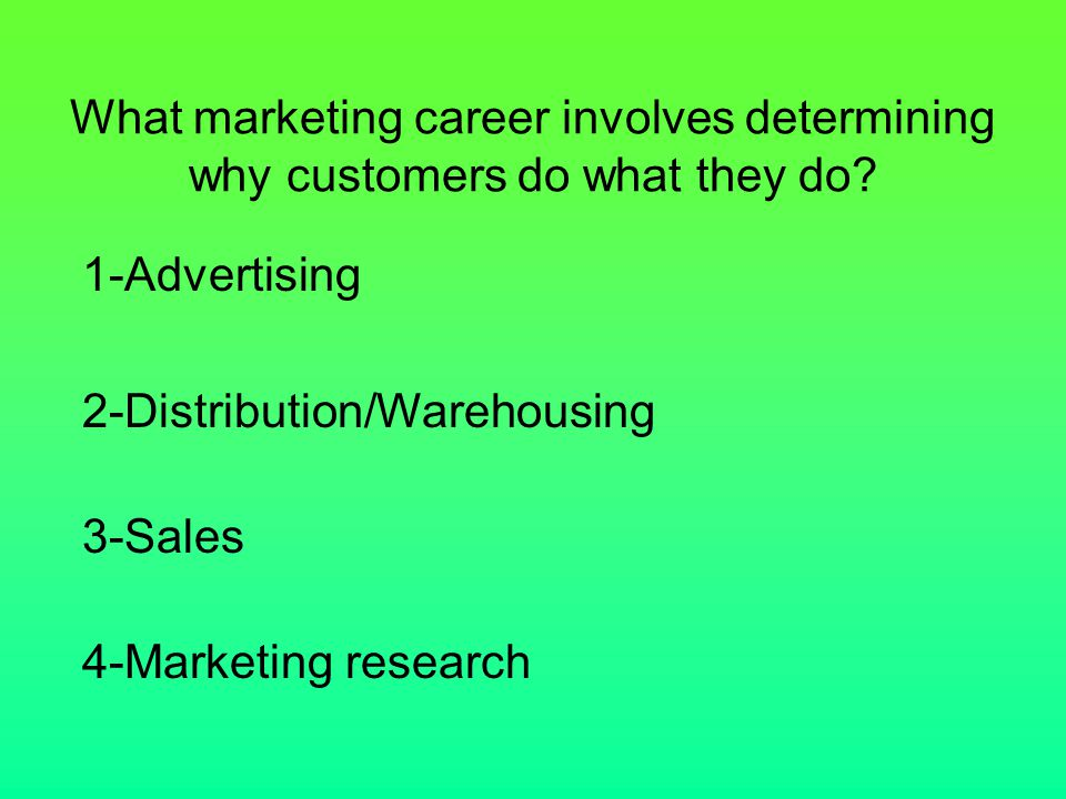 What marketing career involves determining why customers do what they do