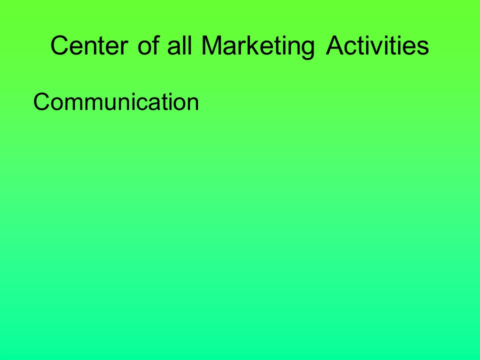 Center of all Marketing Activities