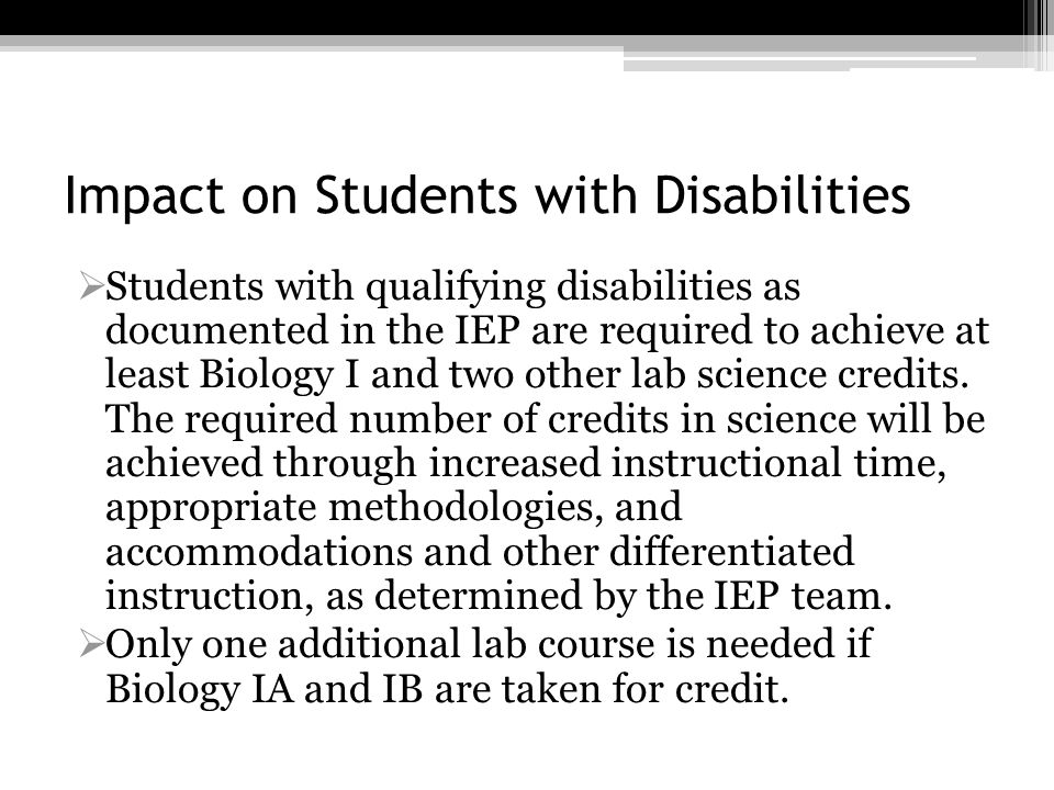 Impact on Students with Disabilities