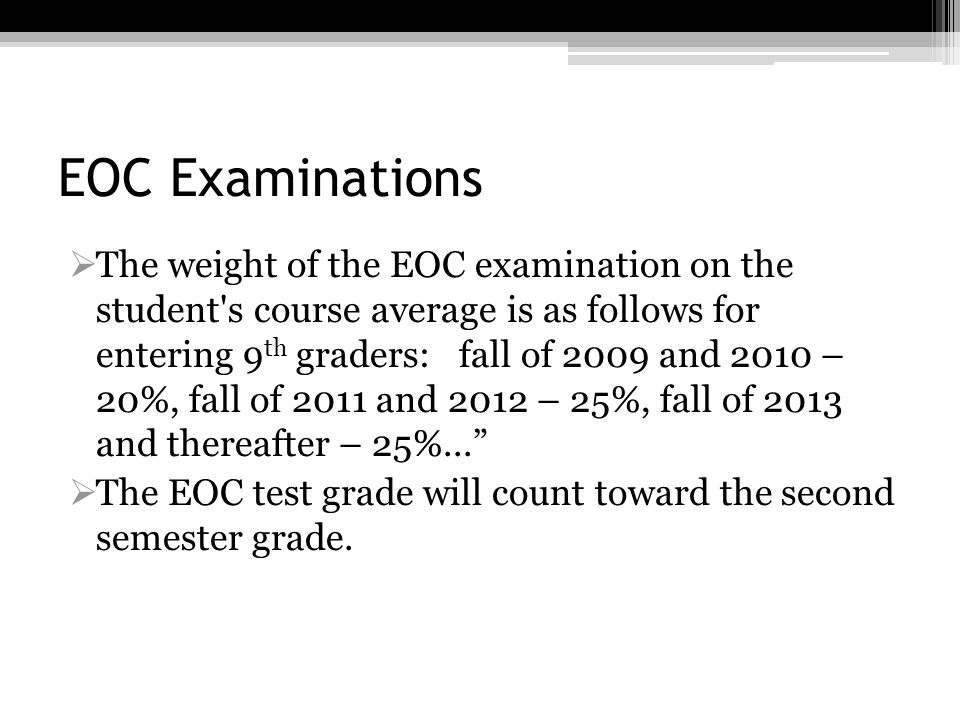 EOC Examinations