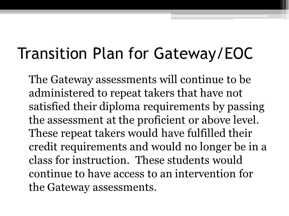 Transition Plan for Gateway/EOC