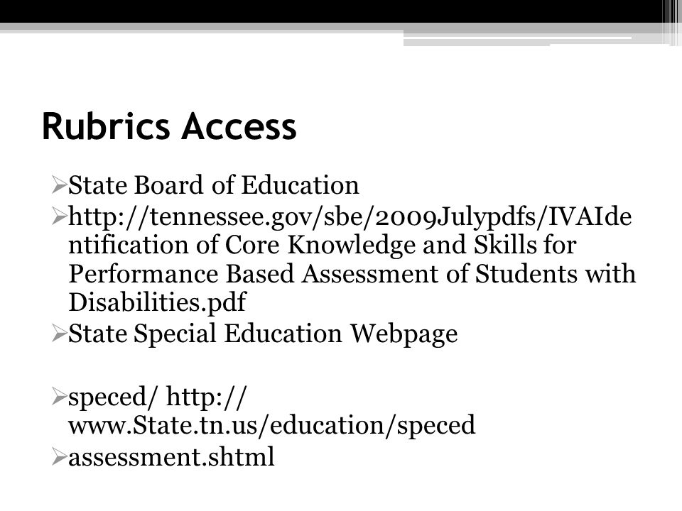 Rubrics Access State Board of Education