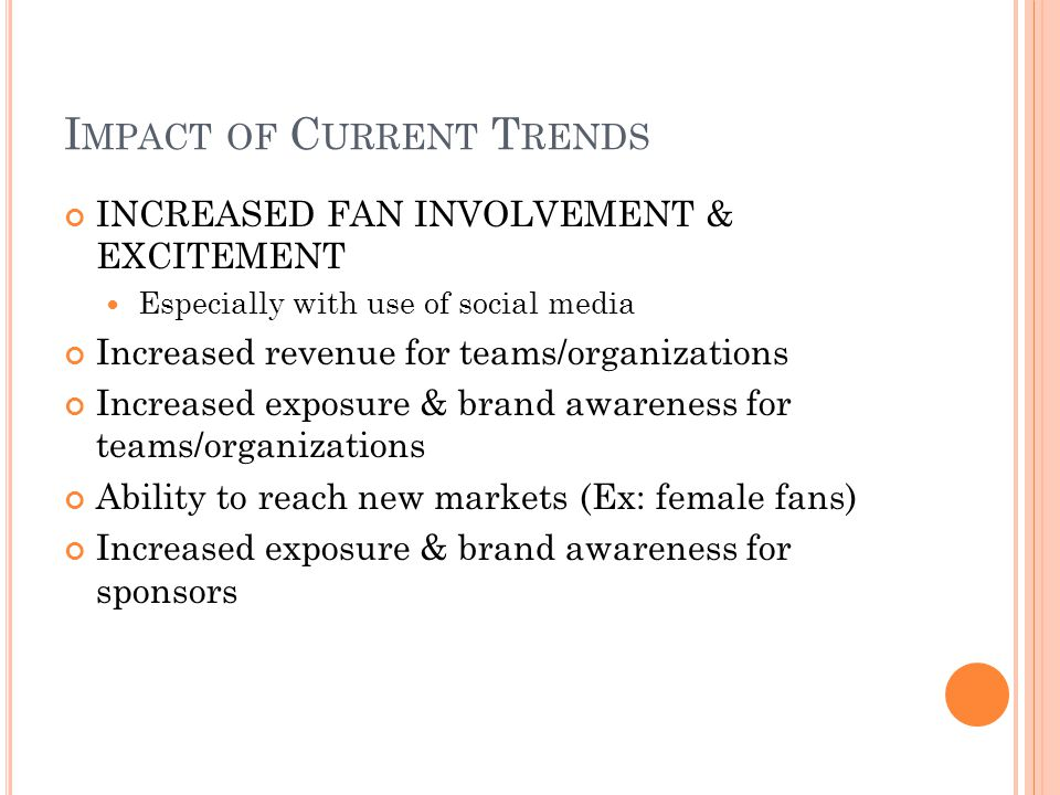 Impact of Current Trends