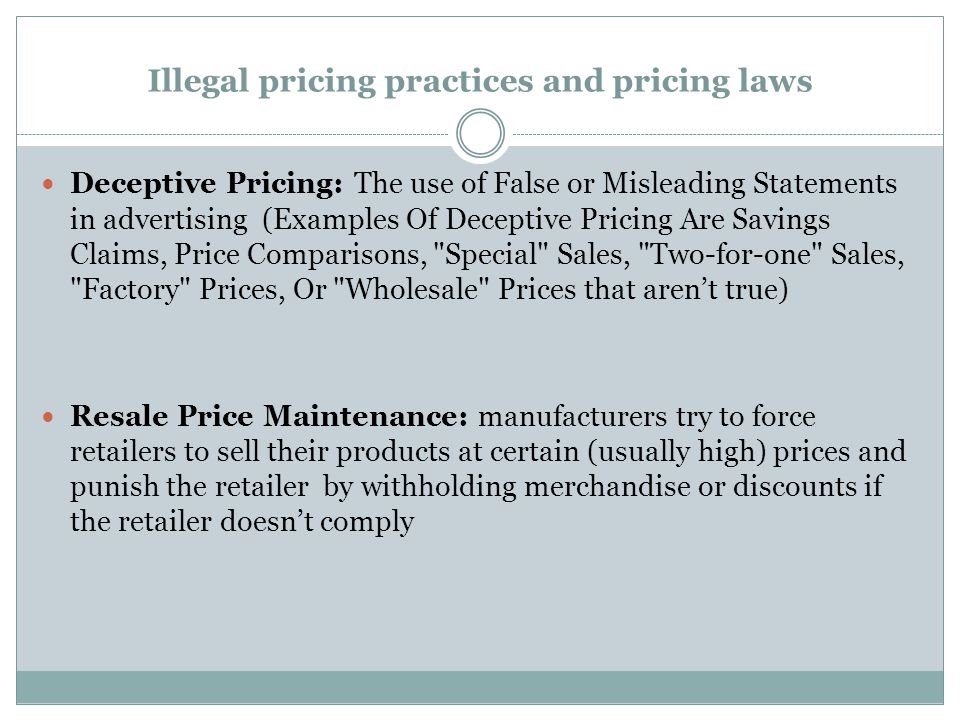 Illegal pricing practices and pricing laws