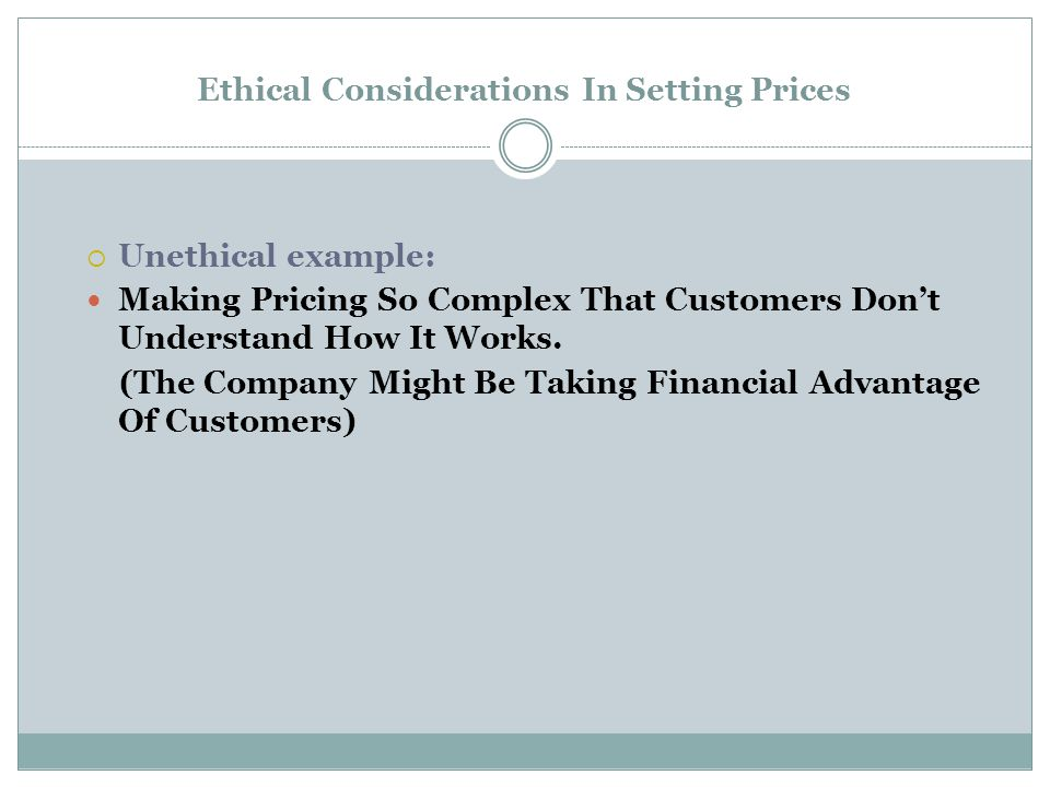 Ethical Considerations In Setting Prices