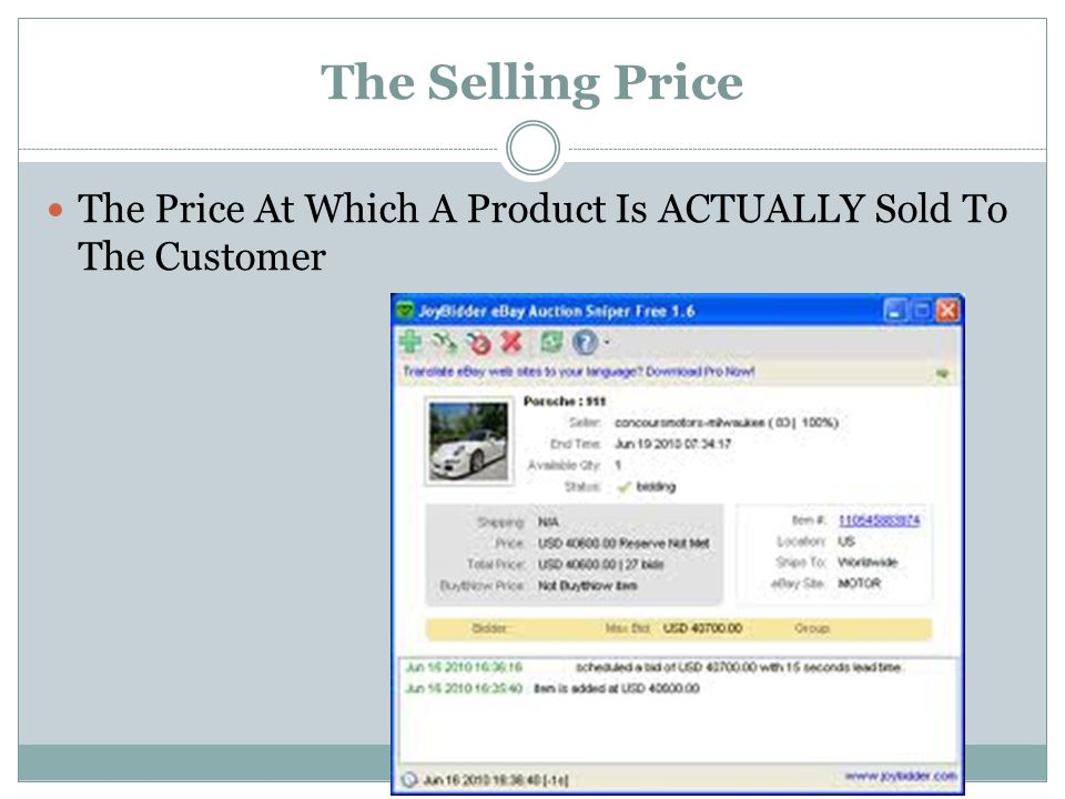 The Selling Price The Price At Which A Product Is ACTUALLY Sold To The Customer
